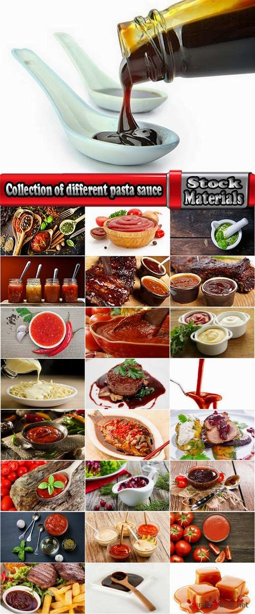 Collection of different pasta sauce ketchup spice food 25 HQ Jpeg