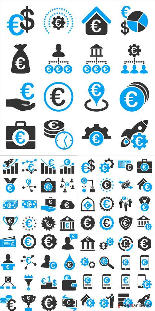 Vector Euro Financial and Business Icons
