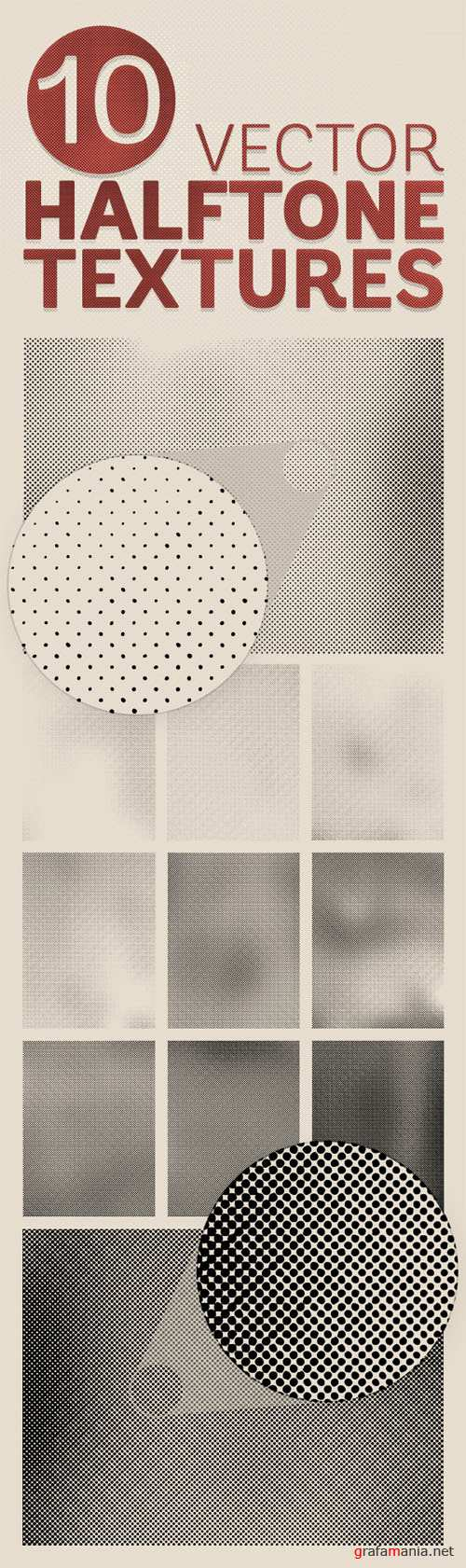 Detailed Vector Halftone Texture Backgrounds