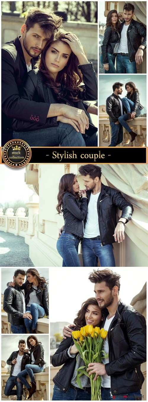 Stylish couple, fashionable clothes - stock photos