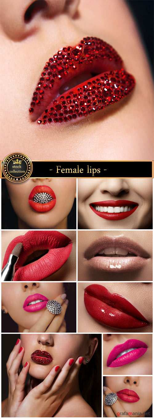 Female lips, make-up - stock photos