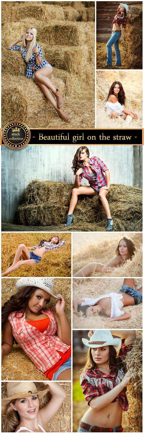 Beautiful girl on the straw - stock photos