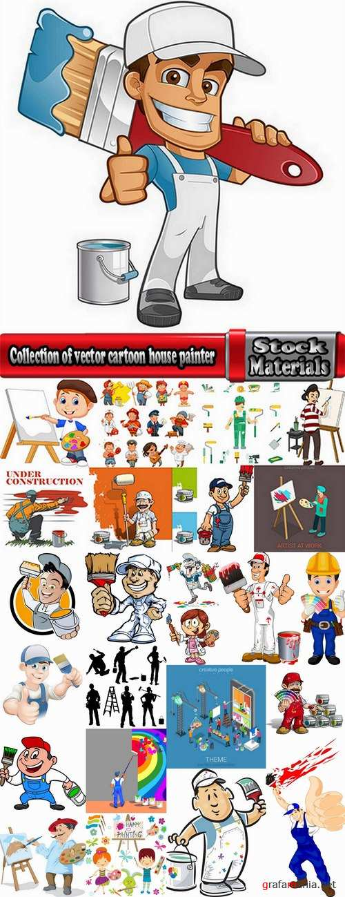 Collection of vector cartoon house painter picture painter paint brush to draw 25 Eps