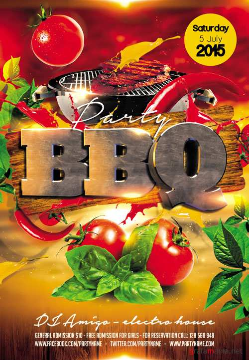 Flyer PSD Template - BBQ Party Facebook Cover