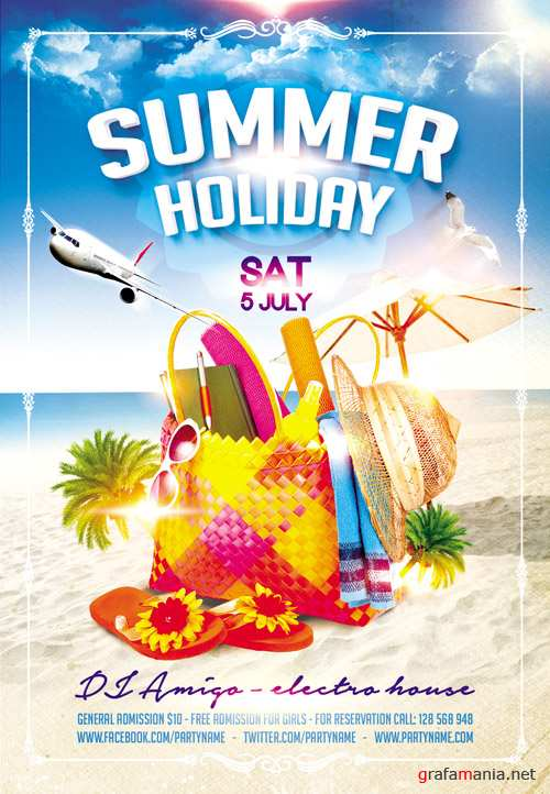 Flyer PSD Template - Summer Holiday Facebook Cover