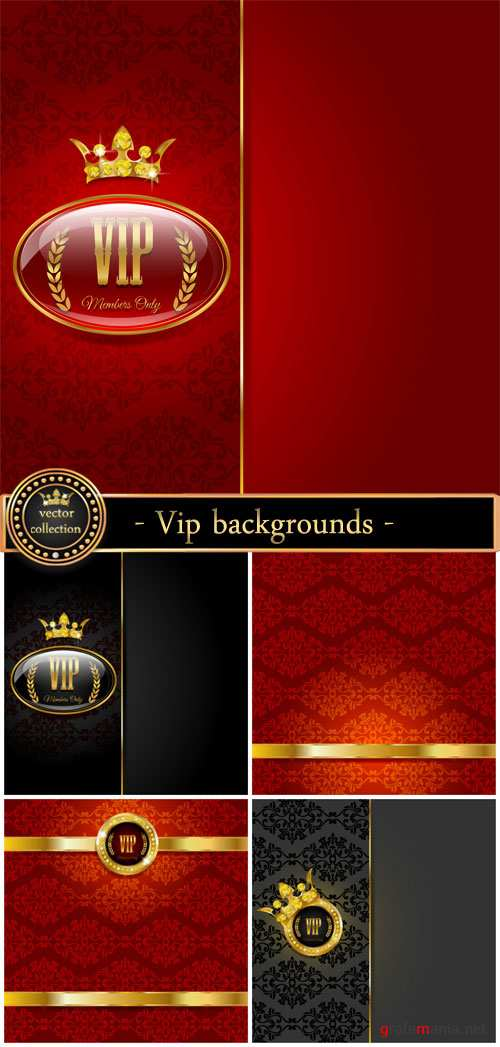 Vip backgrounds, red and black vector backgrounds with patterns