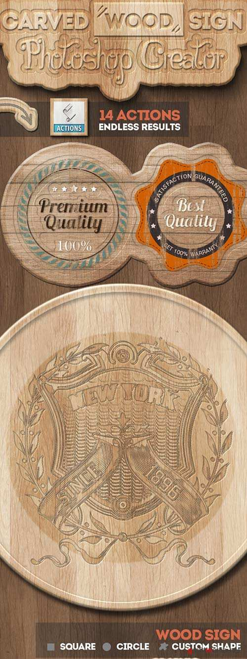 GraphicRiver Carved Wood Sign Photoshop Creator