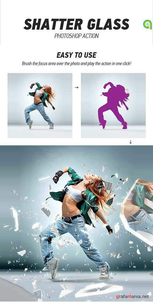 GraphicRiver Shatter Glass Photoshop Action
