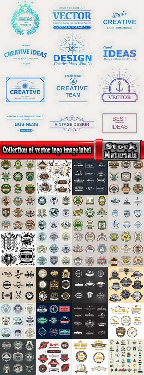 Collection of vector logo image label pattern sticker token vintage element 25 Eps