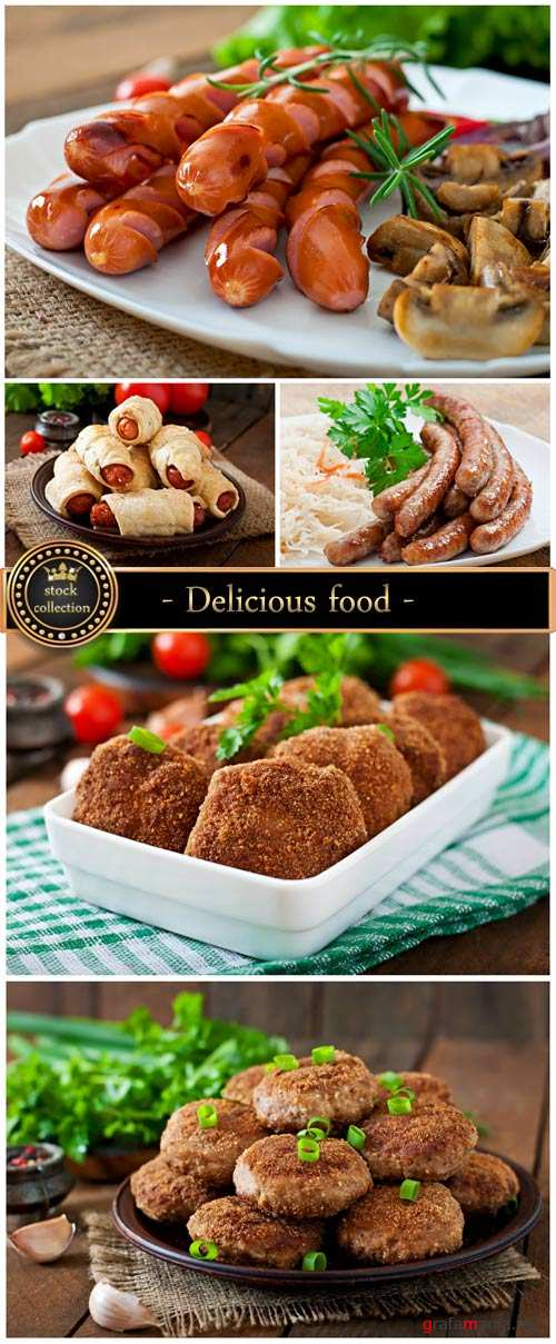 Delicious food, meat dishes - stock photos
