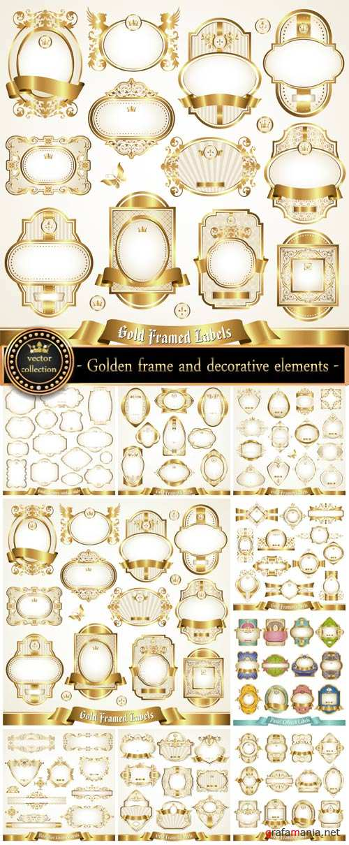 Golden frame and decorative elements vector