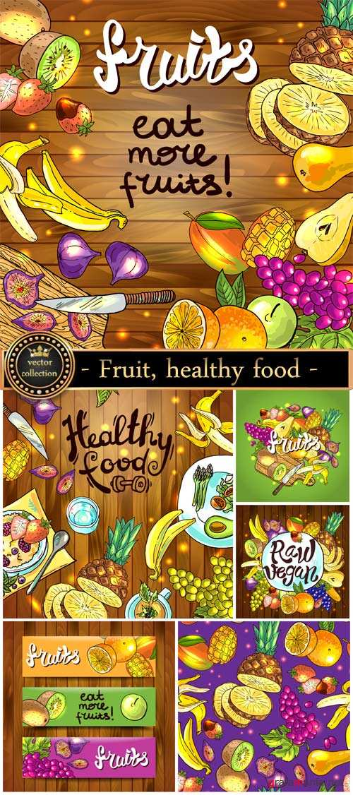Fruit, healthy food, vector backgrounds, banners