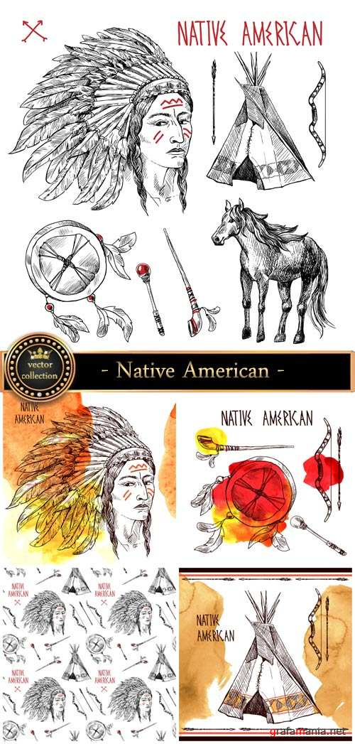 Native American, vector elements