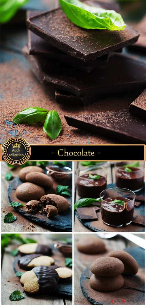 Chocolate, muffins and cookies with chocolate - Stock Photo