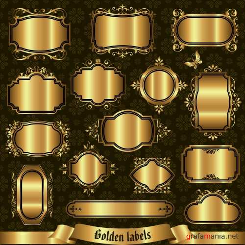Gold decorative frames and labels in vector
