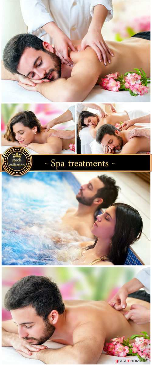 Spa treatments, massages, male and female - Stock photo