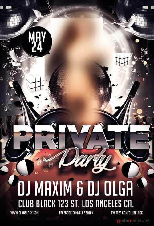 Flyer PSD Template - Private Party + Facebook Cover
