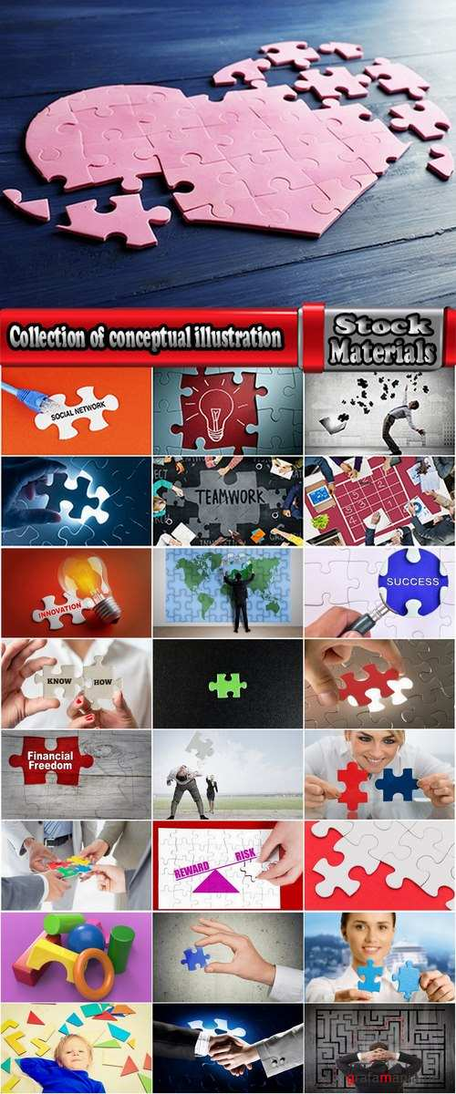 Collection of conceptual illustration jigsaw puzzle business topics 25 HQ Jpeg