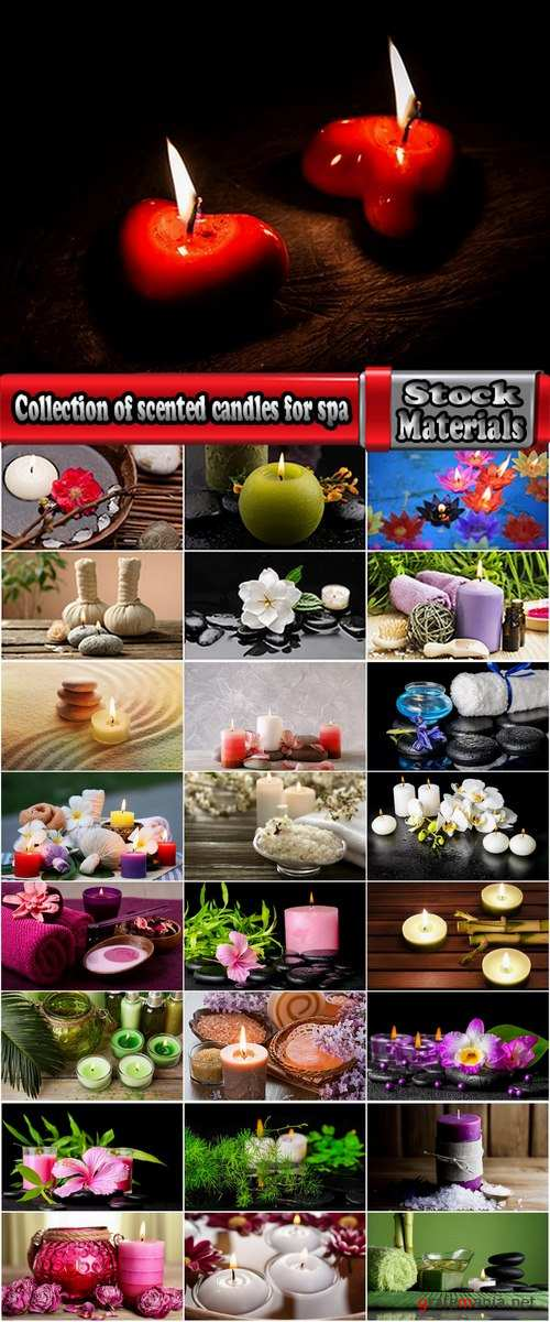 Collection of scented candles for spa treatments aromatherapy oil towel 25 HQ Jpeg