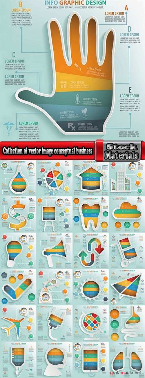 Collection of vector image conceptual business infographics #3-25 Eps