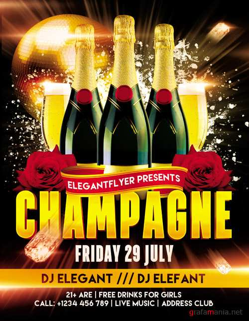 Flyer PSD Template - Champagne Party + Facebook Cover