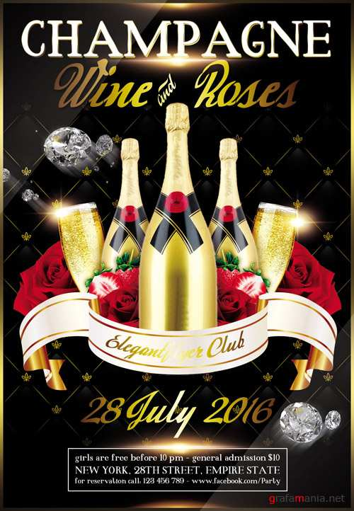 Champagne Wine and Roses - Flyer PSD Template + Facebook Cover