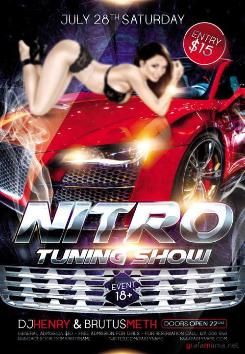 Nitro Tuning Show - Flyer PSD Template + Facebook Cover