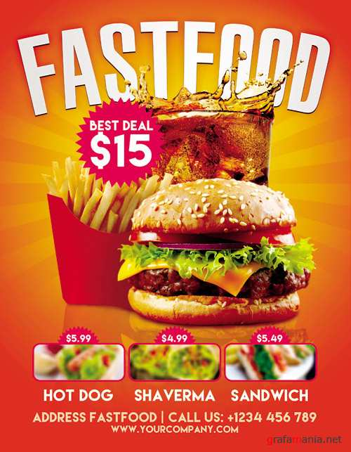 Fastfood - Flyer PSD Template + Facebook Cover