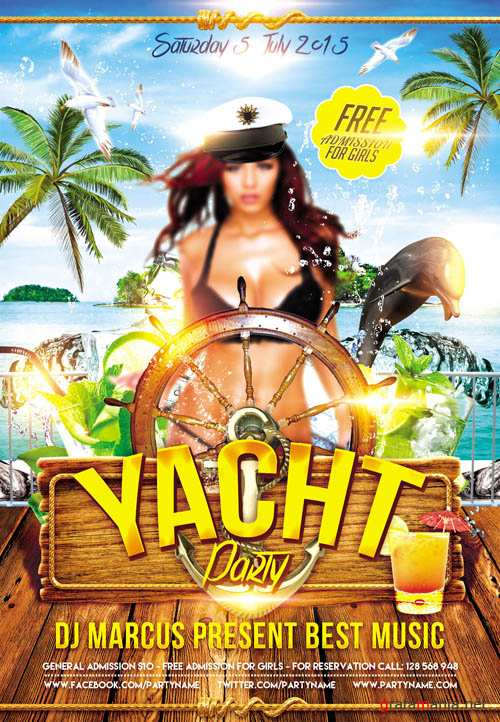 Yacht Party - Flyer PSD Template + Facebook Cover