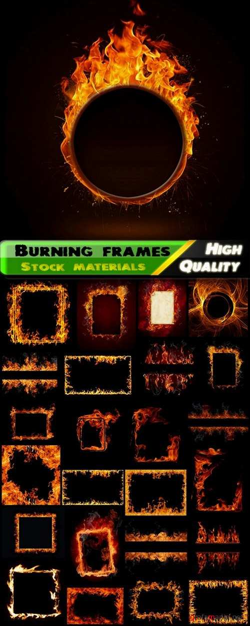 Burning and fire frames and flame on black - 25 HQ Jpg