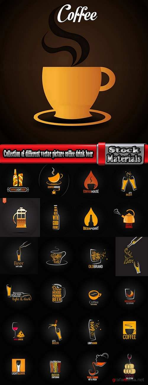 Collection of different vector picture coffee drink beer logo a background flyer 25 Eps