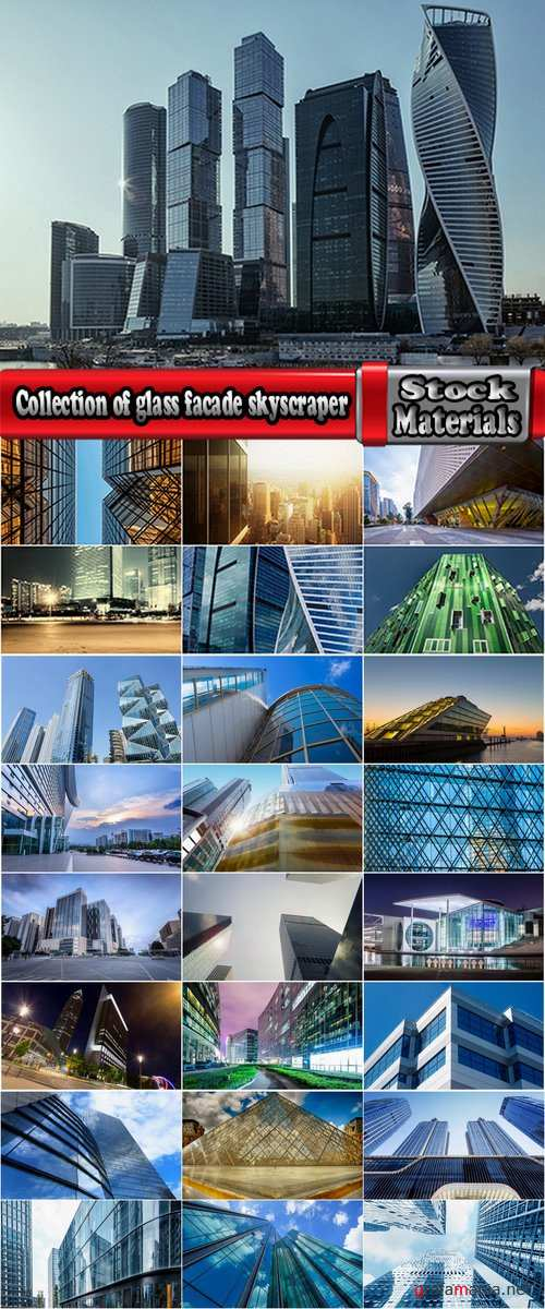 Collection of glass facade skyscraper building of glass and metal 25 HQ Jpeg