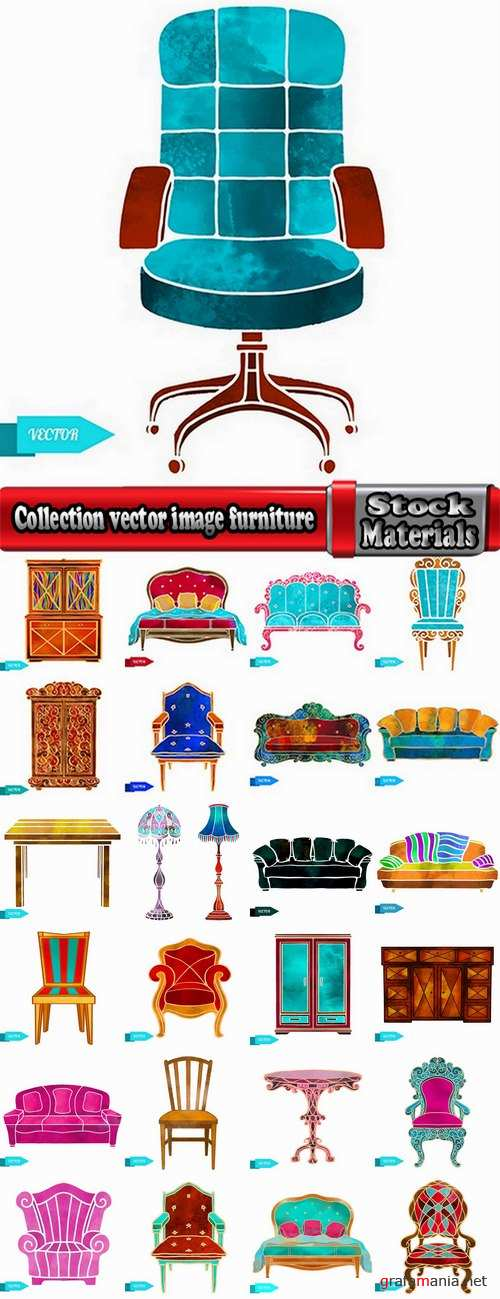 Collection vector image furniture table chair armchair floor lamp wardrobe 25 Eps