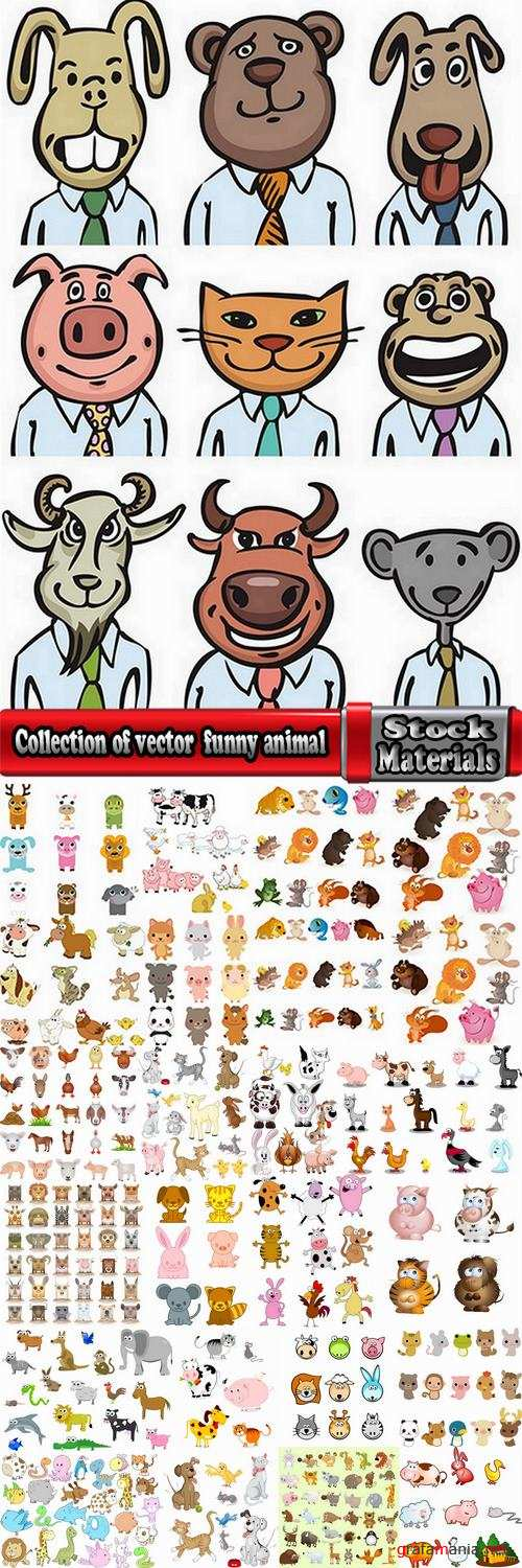 Collection of vector illustration of the different picture funny animal cartoon character 25 Eps
