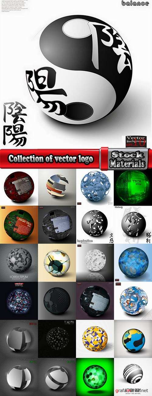 Collection of vector logo of a background picture business sphere ball circle high-tech 25 Eps