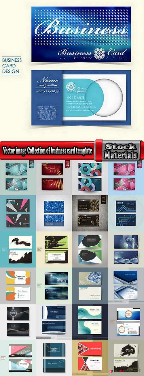 Vector image Collection of business card template visiting card #2-25 Eps