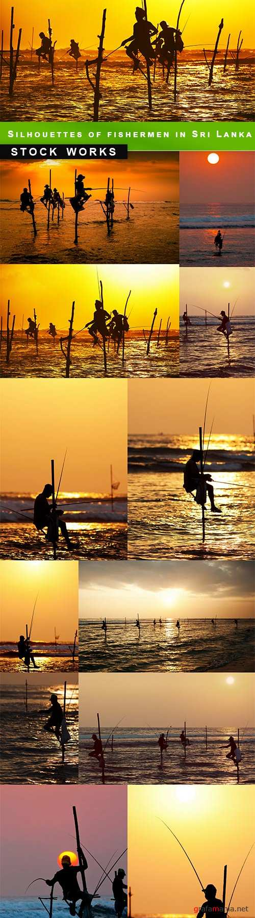 Silhouettes of the traditional stilt fishermen in Sri Lanka - 12 UHQ JPEG