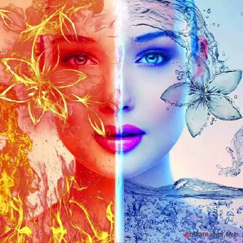 Water and Fire effects manipulation photoshop