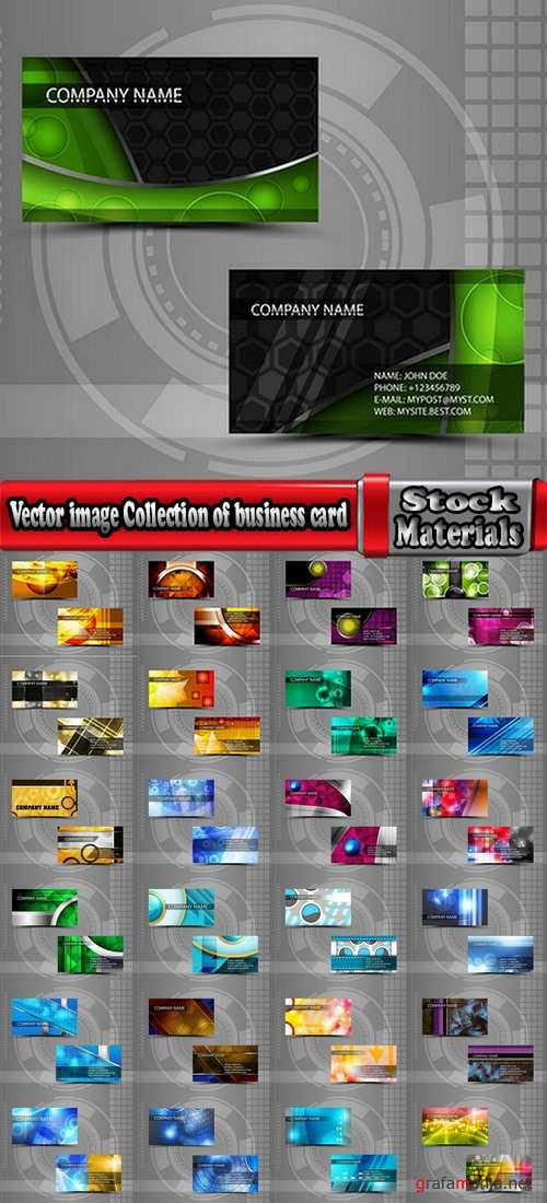 Vector image Collection of business card template visiting card #4-25 Eps