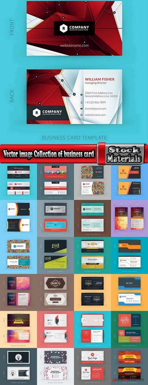 Vector image Collection of business card template visiting card #3-25 Eps