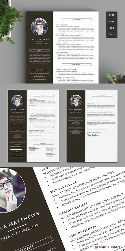 Creativemarket - Hipster Resume/CV with Cover Letter 219359