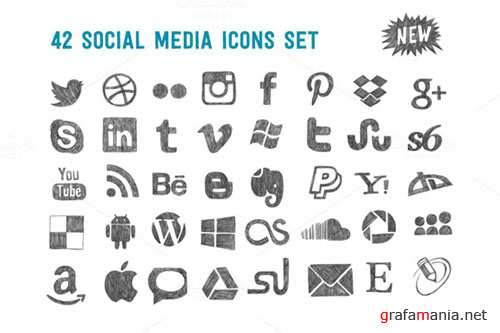 Creativemarket - Sketchy social media icons set 100751