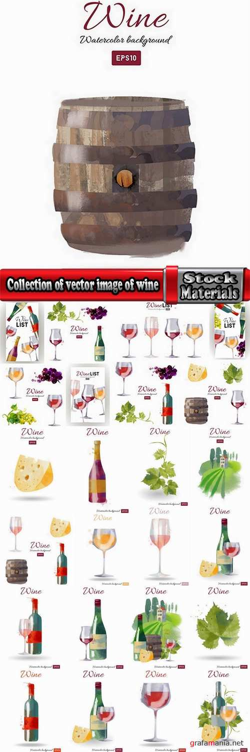Collection of vector image of wine bottle with a glass of wine glass of grape leaf cheese 25 Eps