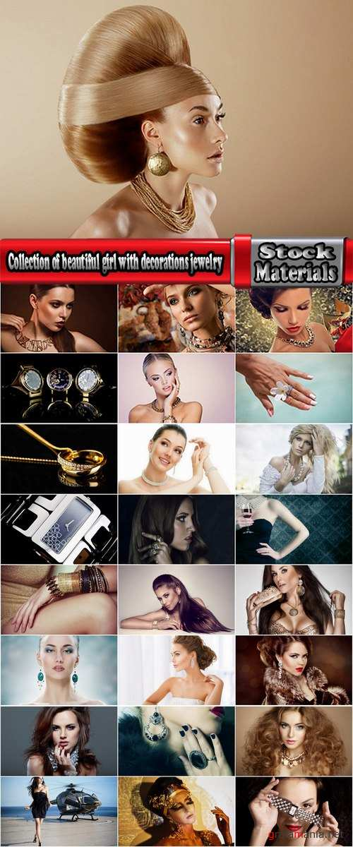 Collection of beautiful girl with decorations jewelry pendant earrings watches 25 HQ Jpeg