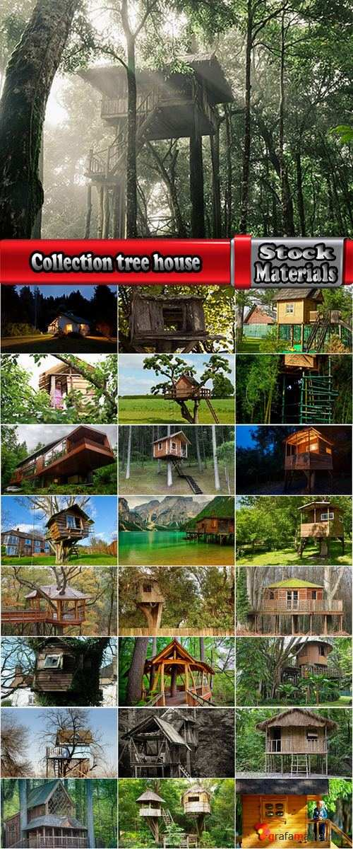 Collection tree house hut house log hut of the forest 25 HQ Jpeg
