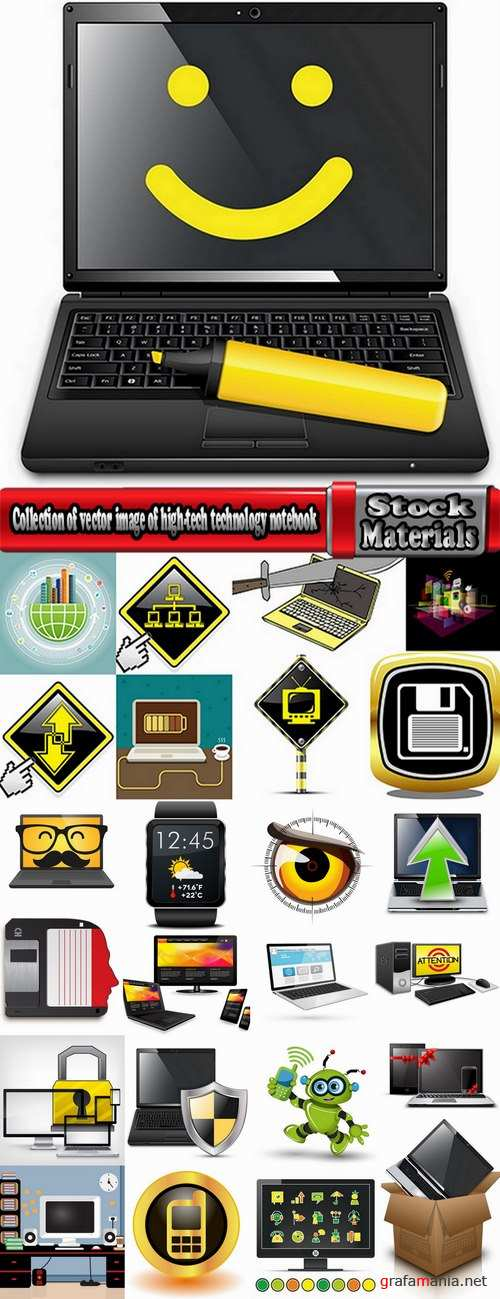 Collection of vector image of high-tech technology notebook tablet computer monitor 25 Eps