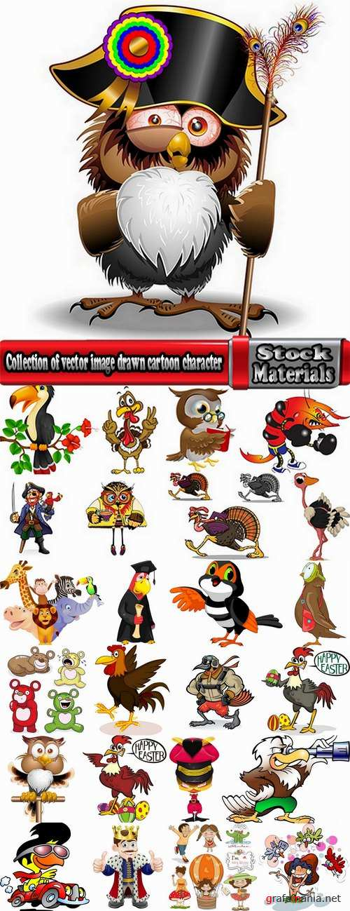 Collection of vector image drawn cartoon character animal 25 Eps