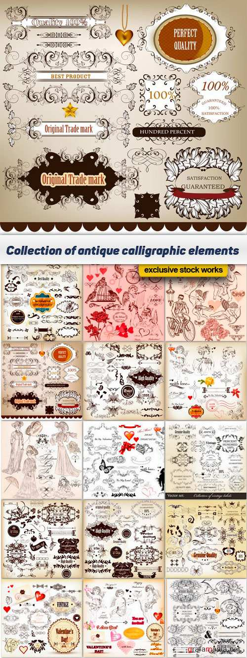Collection of antique calligraphic elements - 15 EPS