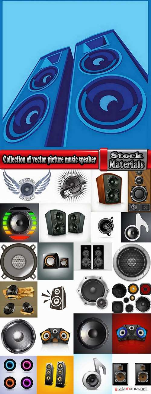 Collection of vector picture music speaker loudspeaker background is a symbol logo 25 EPS