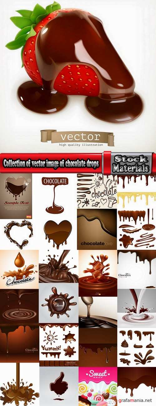 Collection of vector image of chocolate drops a background hot chocolate cocoa 25 EPS